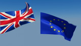 Loopable Great Britain and European Union Flags poster