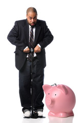 Businessman Inflating Piggy Bank