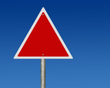 Triangular empty road sign poster