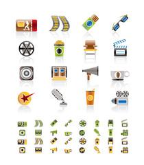 Cinema and Movie - vector icon set