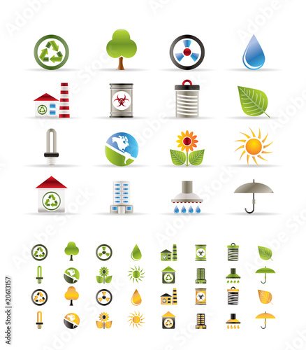 Realistic  Ecology icons -vector icon set