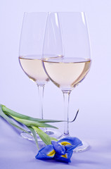 Two Glasses of White Wine and One Iris Flower