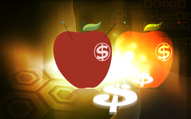 Illustration of an apple with dollar symbol and pin
