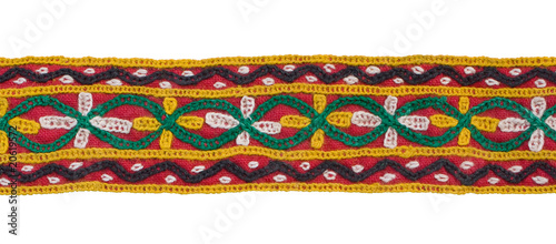 Embroidered band of fabric, Isolated.