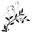 Vector - Floral black branch with leaves