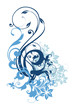 Decorative floral vector design in blue
