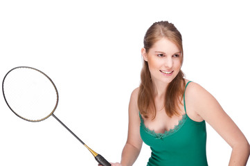 Woman with badminton racket