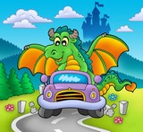Green dragon driving car-