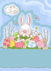 easter greeting card with funny bunny prepares to decorate eggs