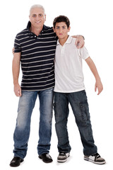Positive image of a caucasian boy with his father