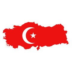Vector Turkish map with flag.