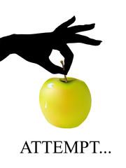 ladies hand with apple
