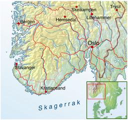 Landkarte von Norwegen