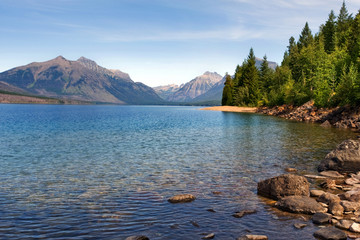 Lake McDonald, the largest lake in Glacier National park