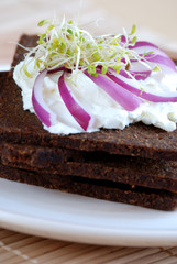 Pumpernickel and cream cheese sandwich