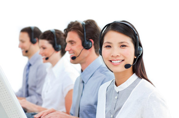 Young business people in a call center