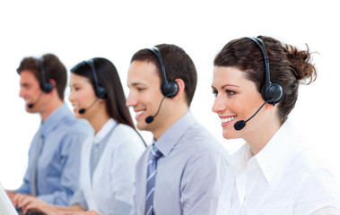 Multi-ethnic business people talking on headset