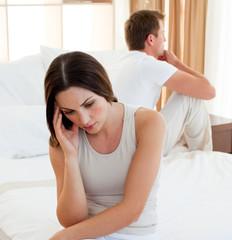 Portrait of a sad couple having an argument