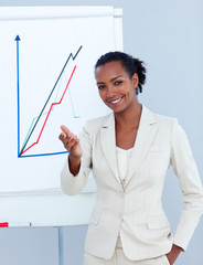 Cheerful businesswoman giving a presentation