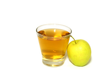 glass of apple juice and fresh apple isolated on white