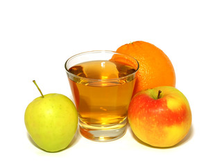glass of apple juice and fresh fruit isolated on white