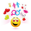 Smiley ball with erotic and love symbols