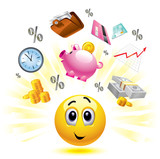 Smiley ball with different symbols of money and earnings poster