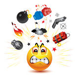 Smiley ball with symbols of  fight and anger poster