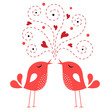 Quadro bird love card