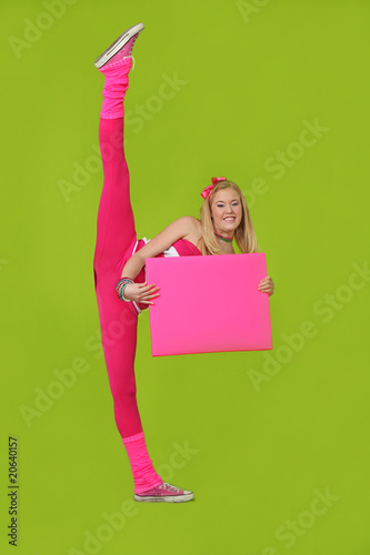 TEEN dancer  with blank sign