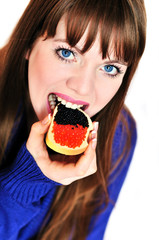 girl eating caviar