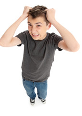 Stress frustration pulling hair out - student boy