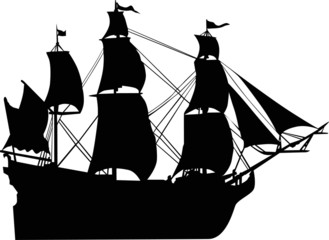 ship with sails silhouette