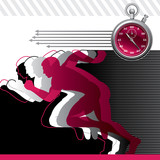 Background with runners and stop watch