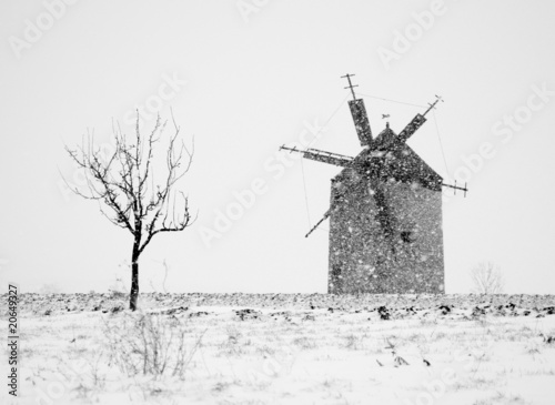 Windmill in snowfall - black and white photo - 20649327