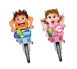 自転車-少年少女!