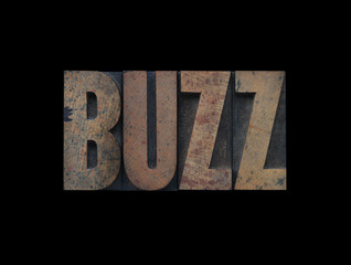 the word buzz in old wood type