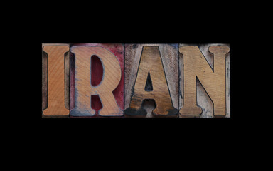 the word Iran in old letterpress wood type