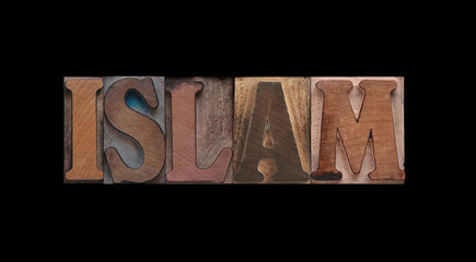 the word Islam in old letterpress wood type