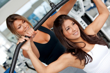 gym woman and trainer