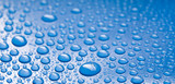 water drops on blue background detail