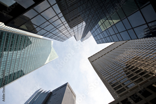 Upwards view of skyscrapers