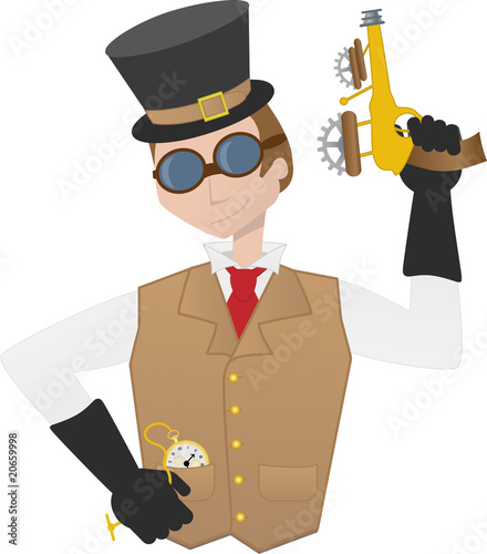 Steampunk man holding ray gun gear goggles victorian cartoon guy