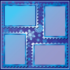 Set of four winter photo frames. Vector art-illustration.