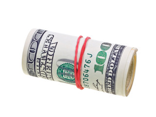 Money roll with US dollars bills isolated on white