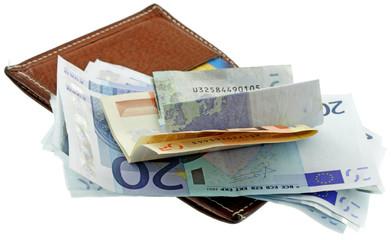 billets euros, porte-cartes cuir, fond blanc