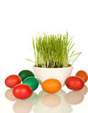Easter and spring symbols - grass and dyed eggs poster