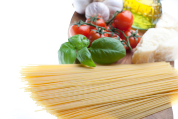 Arrangement of the basic ingredients for italian spaghetti.