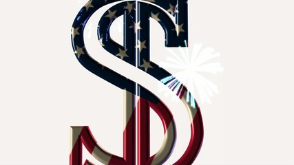 dollar and fireworks