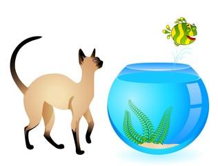 cartoon cat with little colorful tropical fish in aquarium